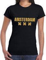 Amsterdam gouden glitter tekst t-shirt zwart dames M