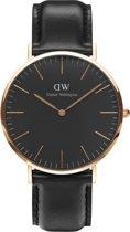 Daniel Wellington Classic Black Sheffield DW00100127 - Horloge - Leer - Zwart - Ø 40 mm