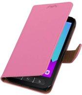 Samsung Galaxy Xcover 4 bookcase hoesje effen Roze