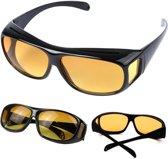 2-in-1 Zonnebril Autobril Nachtbril - UV-Beschermend Nachtzicht Nachtblind Nightview Auto Bril - Nachtblindheid Nightvision Gele Night Vision Overzet Mistbril - Met Brillenkoker
