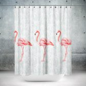 Roomture - douchegordijn - Flamingo - 180 x 200