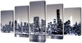Canvas muurdruk set monochroom New York skyline 200 x 100 cm