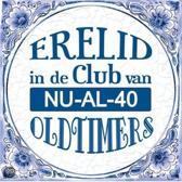 Delfts Blauwe Spreukentegel - Erelid in de club van NU-AL-40 oldtimers