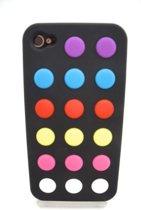 Zacht rubberen backcase met stippen zwart voor iphone 4/4s