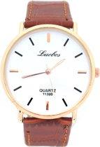 Horloge Dames - Band PU Kunstleer - Kast 40 mm - Quartz - Roségoudkleurig en Bruin - Dielay