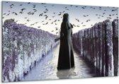 Canvas schilderij Vrouw   Zwart, Grijs, Wit   120x70cm 1Luik