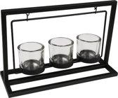 Kaarsenhouder metaal - Kaarsen standaard - Decoratie - Waxinelichtjes - Zwart
