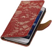 Wicked Narwal | Lace bookstyle / book case/ wallet case Hoes voor Samsung Galaxy Prime G530F Rood