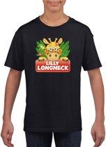 Lilly longneck de giraffe t-shirt zwart voor kinderen - unisex - giraffen shirt M (134-140)