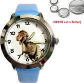 Dinosaurus horloge blauw