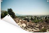 Uitzicht op de Tunesische ruïnes van Carthago in Afrika Tuinposter 90x60 cm - Tuindoek / Buitencanvas / Schilderijen voor buiten (tuin decoratie)