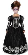 Spaans & Mexicaans Kostuum | Zwarte Jurk Versierd Met Schedels Day Of The Dead Meisje | Maat 164 | Halloween | Verkleedkleding