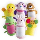 5 Washandjes Deluxe + 1 extra verrassing – Washand set baby & kinderen – Douche & badspeelgoed kraamcadeau – Diertjes & badeendjes figuurtjes – badkameraccessoires