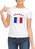 Wit dames t-shirt met vlag van Frankrijk L