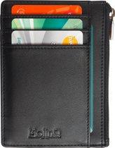 4d7664fbaa4 Compacte RFID Portemonnee met Rits en ID-Venster - Anti Skim Pasjeshouder -  Zwart