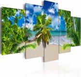 Schilderij - Zomer tijd, blauw/groen, 5 luik, 2 maten