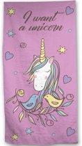 Unicorn - Strandlaken - 70 x 140 cm - Roze