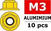 Team Corally - Aluminium zelfborgende zeskantmoer met flens - M3 - Goud - 10 st