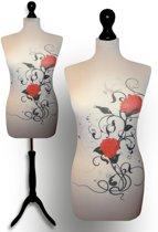 Artistic flower design paspop met zwarte sparkling driepoot 36/38