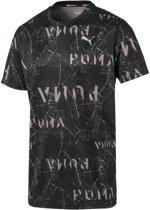 PUMA Ignite Graphic S/S Tee Sportshirt Heren - Puma Black-AOP - Maat XL