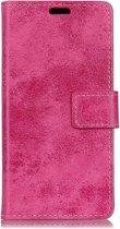 Shop4 - Wiko View Prime Hoesje - Wallet Case Vintage Roze