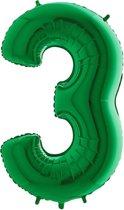 Folieballon cijfer '3 groen (100cm)