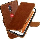 MP Case Bruin Vintage lederlook PullUp Map voor de Motorola Moto G4 wallet cover - book case - hoesje