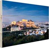 Verlichte Akropolis Hout 160x120 cm - Foto print op Hout (Wanddecoratie) XXL / Groot formaat!