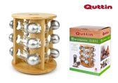 Quttin Bamboe Draaibaar Kruidenrek met glazen potjes en RVS deksels (13 delig)