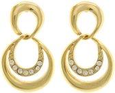 Behave® Dames oorbellen hangers goud-kleur 3 cm
