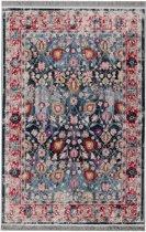 Vintage Floral Print Vloerkleed met Antislip zijde - 120X180 cm - Blauw / Multikleur