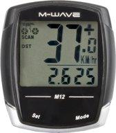 M-wave M12 - Fietscomputer - Bedraad - 12 Functies Zwart