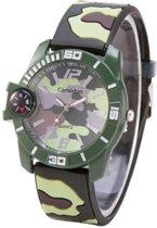 Camouflage Horloge - Silicone band - Groen & Bruin met kompas