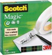 5x Scotch plakband Magic  Tape 12mmx66 m, doos a 2 rolletjes