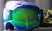 Combinatiepakket van Skibril met groen spiegelglas, extra zelfontworpen Airforce band en een beschermdoos