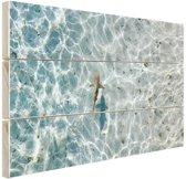 Haai in ondiep water Hout 80x60 cm - Foto print op Hout (Wanddecoratie)
