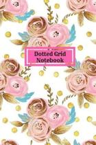 Gold Floral Dot Grid Notebook Journal, Dotted Grid Pages, 150 Pages Size