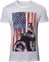 Marvel Captain America Civil War American Flag White TShirt S