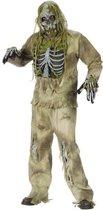 Zombie pak kostuum moeras skelet halloween met masker en handschoenen - apocalyps bruin eng zombiepak horror festival