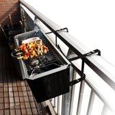 MikaMax - Balkon BBQ - Buiten barbecue - 58x19x15cm - met rooster en bakplaat