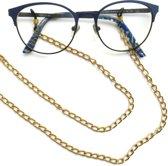 Brillenkoord - aluminium - grote goudkleurige schakels