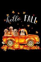 Hello Fall: Halloween Hello Fall Golden Retriever Golden Retriev Journal/Notebook Blank Lined Ruled 6x9 100 Pages