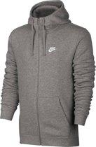 Nike Sportswear Club Hoodie FZ BB Sporttrui Heren - Dk Grey Heather/Dk Grey Heather/White