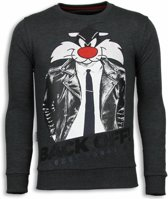 Local Fanatic Pussy Cat - Rhinestone Sweater - Antraciet - Maten: XXL