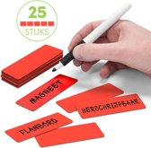 25 Whiteboard Magneten Balk 7,5 x 2,5 cm Rood - Herschrijfbaa