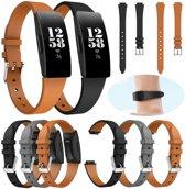 KELERINO. Leren band voor Fitbit Inspire (HR) - 3pack - Bruin / Grijs / zwart