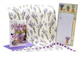 Lavendel cadeauset boodschappenblok cadeaupapier wenskaart cadeaulint