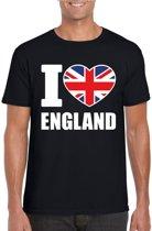 Zwart I love England supporter shirt heren - Engeland t-shirt heren M