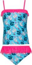 Mim-pi Meisjes Bikini - Blauw met roze - Maat 134