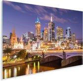 Skyline van Melbourne in de nacht Plexiglas 180x120 cm - Foto print op Glas (Plexiglas wanddecoratie) XXL / Groot formaat!